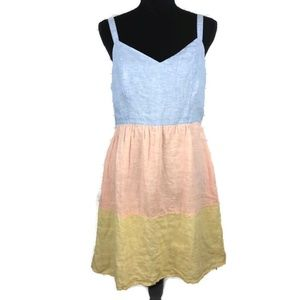 CYNTHIA ROWLEY Linen Colorblock Sundress M
